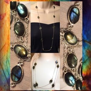 "36"" Labradorite Gemstone Stamped Station Necklace"